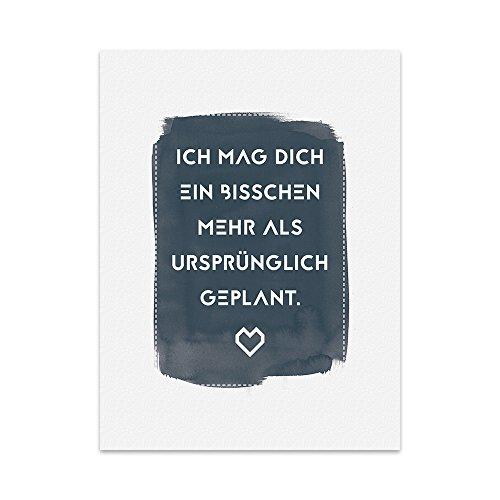 Kunstdruck, Poster mit Spruch – ICH MAG DICH – Wand-Bild, Plakat mit Zitat als Geschenk und Dekoration zum Thema Freundschaft, Liebe und Liebeserklärung (21 x 30 cm)