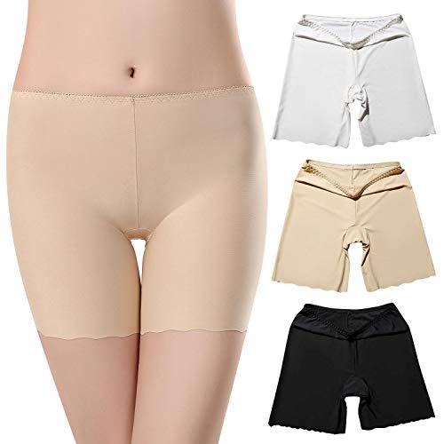UMIPUBO 3er Pack Damen Panties Wellenförmige Seide Seamless Unterhose Retroshorts Unsichtbar Boyshort Slip Hose Schlüpfer Light Unterwäsche Leggings (Seide Aus Boyshort)