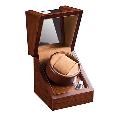 LALAWO Perfekte Aufbewahrungsbox Uhrenbox - Uhrenbox mit rotierendem Shaker, Drehteller, Aufbewahrungsbox für Schmuck, rotierende elektrische Uhrenbox, braun Artikelbehälter (Drehteller-lagerung)