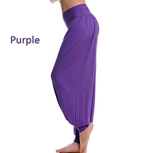 XGUO super doux spandex modal yoga pilates pantalon harem bouffant pour femme Yoga Fitness Violet