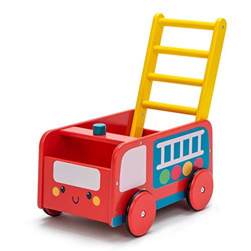 Labebe Andador de Madera, Uso 2 en 1 como Carro, Camión de Bomberos Rojo, Andador de Bebé Por 1-3...