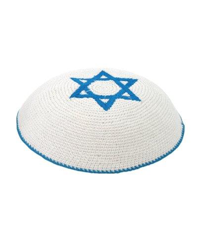 Gestrickt weiße Kippa jüdische Israeli Judaica Kipa mit Davidstern
