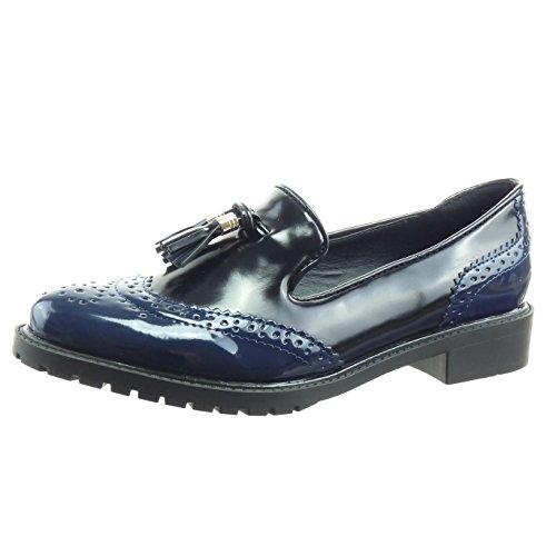 Sopily - Scarpe da Moda Mocassini alla caviglia donna verniciato perforato pon pon Tacco a blocco 3 CM - Blu WLD-8-L01-2 T 39