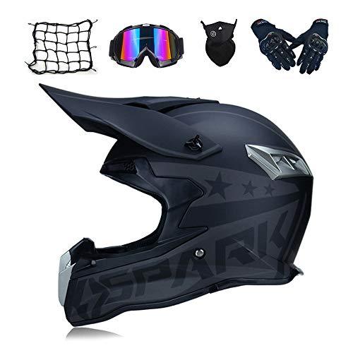 MRDEAR Casco Motocross/Casco MTB Integrale, PRO Casco Moto Cross Adulto Uomo Donna con Occhiali/Guanti/Mascherina/Rete Ragno Elastica, Fodera Rimovibile, 2 Stili,A,M