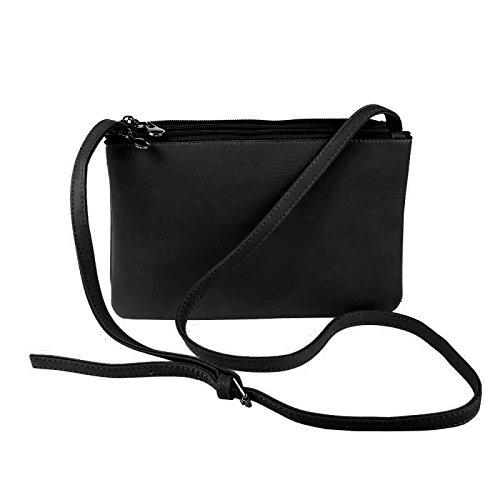OBC DESIGN ITALIANO Clutch Borsa a tracolla borsa da donna borsetta Crossover Borsa a tracolla portamonete borsa di gioielli - NERO 19x25x8 cm, ca 19x25x8 cm ( BxHxT ) nero