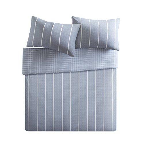 Bettwäsche 200x200cm Gestreift 100% Baumwolle Renforcé 3-teilig Bettbezug & Kissenbezüg