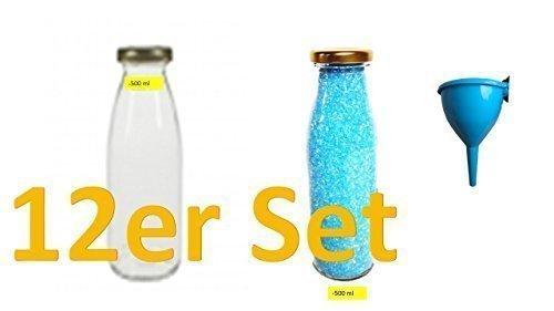 12 leere Weithals-Glasflaschen 0,5L. + Trichter Lakeland Cap