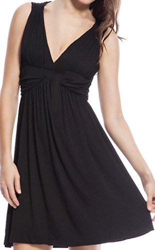 HO-Ersoka Damen Strand-Kleid Sommer-Kleidchen Skater-Dress V-Ausschnitt Schwarz