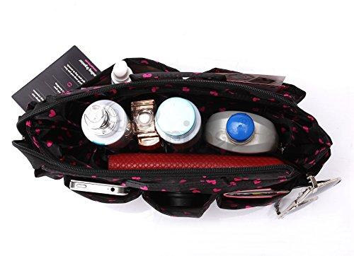 Periea Large Handbag Organiser, Sash, Black / Pink