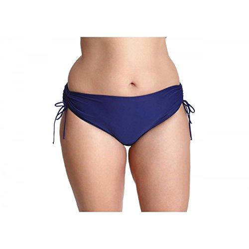 Damen Bikinihose mit Raffungen Bikinislip Panty Bikini Hose Badeslip Unifarben Schwarz Blau Pink Rot, Farbe: Dunkelblau, Größe: 42
