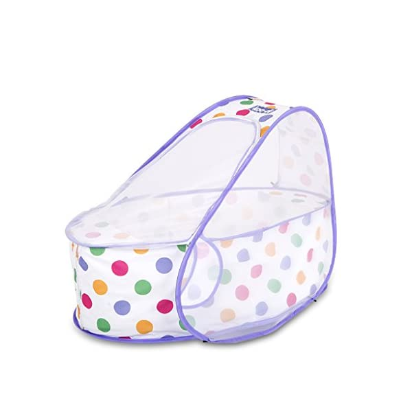 Koo-di 80 x 50 x 58 cm Pop Up Travel Bassinette (Polka Dot)  A comfortable bassinette ideal for use at home and on holidays or weekends away A polycotton travel bassinette Ideal up to 6 months or until baby can sit unaided 1