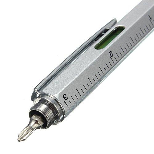 Super 6 in 1 Tech Tool Pen mit Lineal, Kugelschreiber, Levelgauge, Stift und 2 Schraubendreher, Multifunktions-Werkzeuge für Smartmobiles und tablets (Black) -