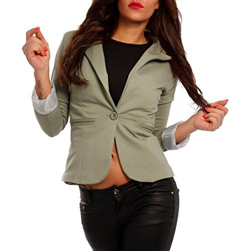 Damen Blazer aus leichter Baumwoll-Stretch-Qualität Business-Basic Kurzjacke , Farbe:Khaki;Größe:36/S