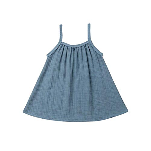 Livoral Madchen Kleider festlich Kleinkind Baby Kinder Mädchen Ärmellos Geraffte Feste Kleidung Freizeitkleidung(Hellblau,80)