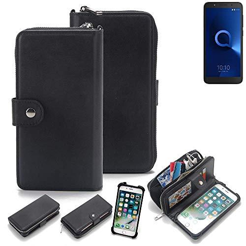 K-S-Trade 2in1 Handyhülle für Alcatel 1C Single SIM Schutzhülle & Portemonnee Schutzhülle Tasche Handytasche Case Etui Geldbörse Wallet Bookstyle Hülle schwarz (1x)