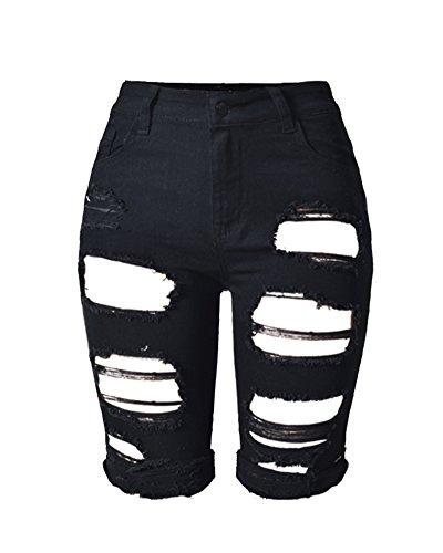 SaiDeng Jeans Donna Pantaloncini Shorts Distrutti Skinny Elastici Aderenti Nero 36