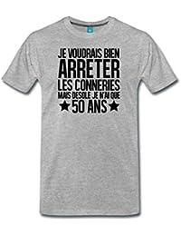 Spreadshirt Anniversaire 50 Ans Arrêter Les Conneries T-Shirt Premium Homme ce496844fa17