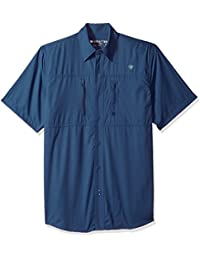 Ariat Men's Venttek Short Sleeve Shirt, Blue, Small