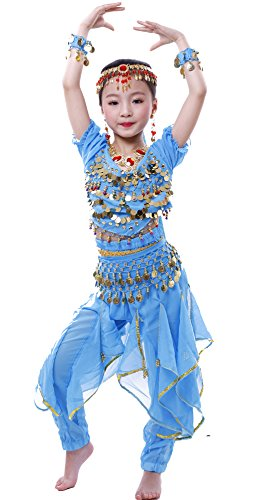 Astage Fille Carnaval Belly Dance Costume Haloween Oriental Cosplay Vêtements Bleu ciel M