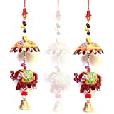 "Indian Handmade Umbrella Elephant Door Hanging For Home And Office Décor And Gift/Greetings For Dewali.(Set Of-2) ""Made In India"""