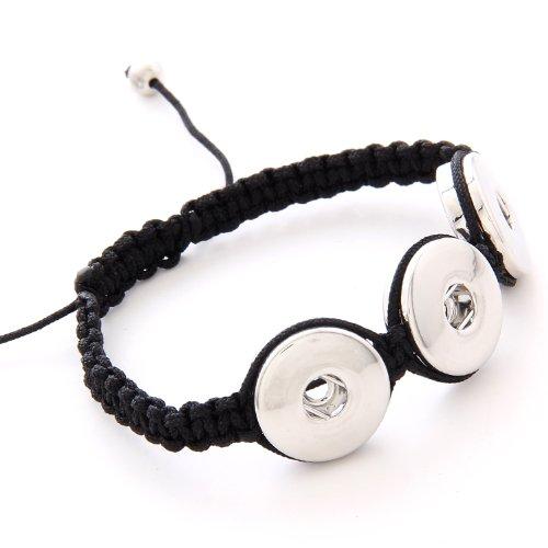 Morella Damen Click-Button Armband Stoff geflochten schwarz für 3 Click-Button (Stoff Chunk)