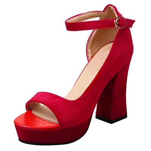 COOLCEPT Damen Mode Knochelriemchen Sandalen Hoch Blockabsatz D'orsay Peep Toe Plateau Schuhe Rot