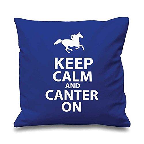 Blau Kissenbezug Keep Calm and Canter auf 40,6x 40,6cm Tochter Freund Geschenk Deko Kissen Home Pferd Equestrian
