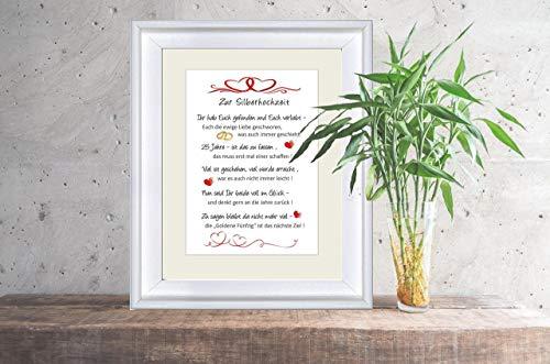 """Silberhochzeit – liebevoll gestalteter Kunstdruck als Geschenk zur"""" Silberhochzeit"""" – 24 x 30 cm mit Passepartout – ohne Rahmen"""