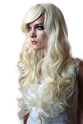 PRETTYSHOP modo della signora lunga dei capelli parrucca piena termoresistente WLR3 Biondo Platino