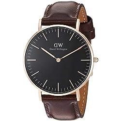 Daniel Wellington Reloj analogico para Unisex de Cuarzo con Correa en Piel DW00100137