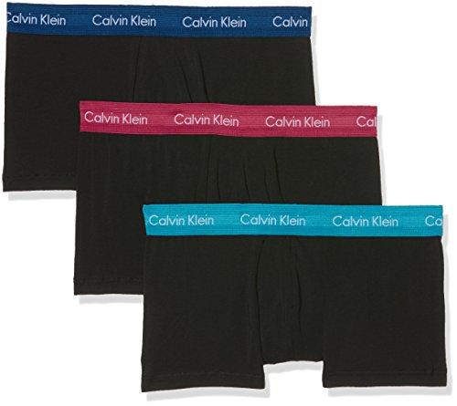Calvin Klein Herren 3p Low Rise Trunk Boxershorts, Schwarz Seaway/Black W/Estate Blue/B Ghy, Large (3erPack) - Blue Cotton Boxer