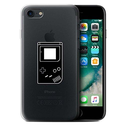 Stuff4 Gel TPU Hülle / Case für Apple iPhone 7 / Schwarz SNES Muster / Spielsteuerung Kollektion Schwarz Gameboy