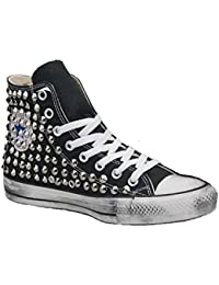 Converse ALL STAR SNEAKER ALTE UK 5 pelle NERA stampa con animali lingua LTD ED