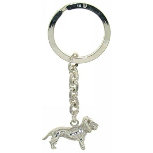 Derby Schlüsselanhänger Rauhhaardackel Teckel massiv echt Silber 29037