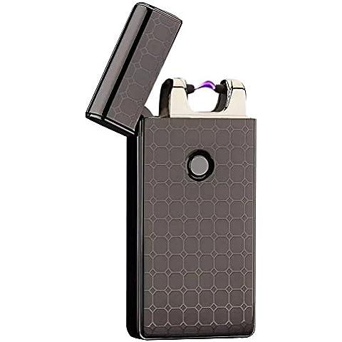 YIJIA - Accendino classico ricaricabile USB elettrico nero