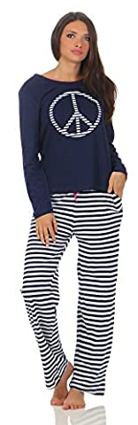 Hond Frauen Schlafanzug Gr. M - 40/42 Oberteil Navy Motivdruck, Hose Streifen navy-weiß