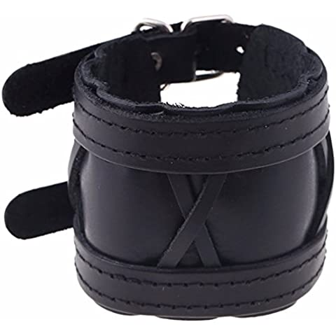 QIYUN.ZPunk Uomini Retro Vintage Cinturino In Pelle Nera Largamente Polsino Braccialetto Braccialetto - Gioielli Cinturino In Pelle Nera