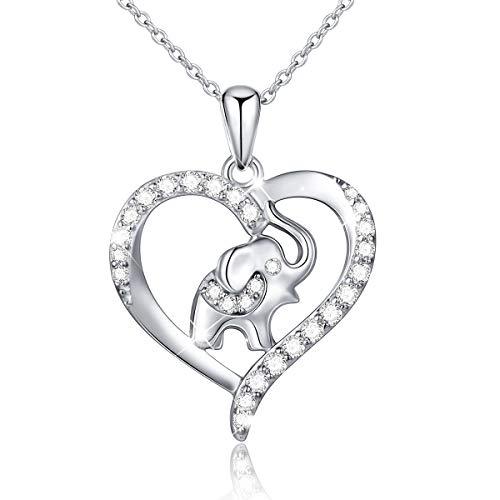 Flyow 925Sterling Silber Liebe Halskette der Elefant in der Herz Anhänger Kette Schmuck