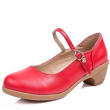 Rtry Mujer Zapatos De Baile Piel Sintética Zapatillas De Baile Moderno Bajo Tacón Al Aire Libre Rojo / Negro / Fucsia / Beige Us5.5 / Eu36 / Uk3.5 / Cn35