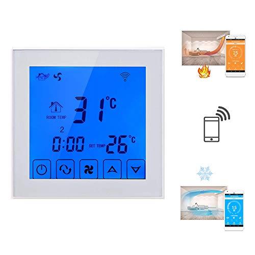 Beok TDS23WIFI-AC2-WB| WIFI Thermostat Temperature Controller-Heizung/Kühlung/Lüftung Raumtemperaturregler für zentralen Klimaanlagen in Hotels,Restaurants,Supermärkten oder Häusern - Heizung Kühlung Thermostat