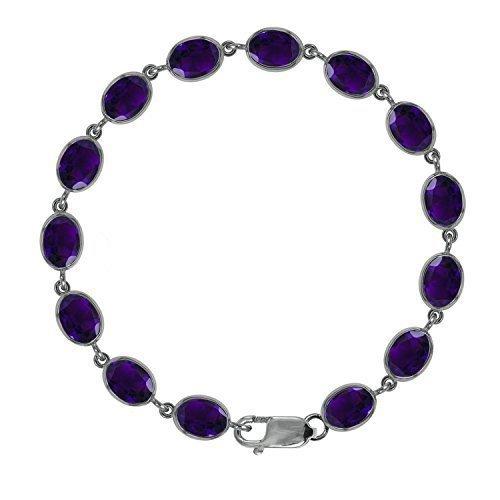Beautiful Jewellery Company BJC Plata De Ley 925 Amatista Natural Tenis Brazalete 21,0ct Caja de Regal