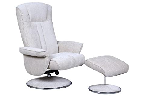 The Portia - Contemporary Fabric Recliner Swivel Chair & Footstool in Beige