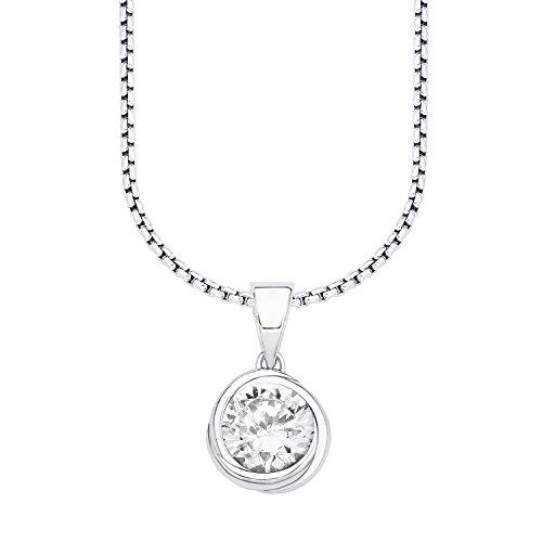 s.Oliver Damen-Kette mit Anhänger 925 Silber rhodiniert Zirkonia weiß