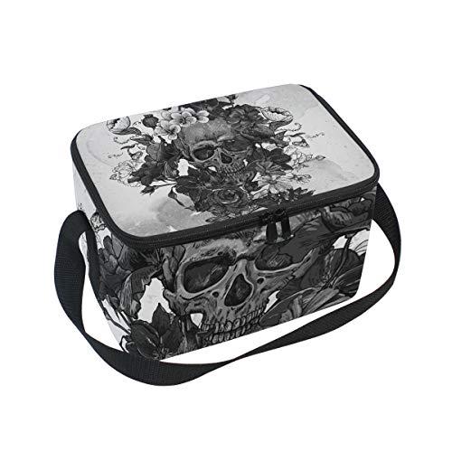 Sugar Skull Dia De Los Muertos Isolierte Lunchtasche, Kühltasche, wiederverwendbar, für Outdoor-Reisen, Picknick-Taschen