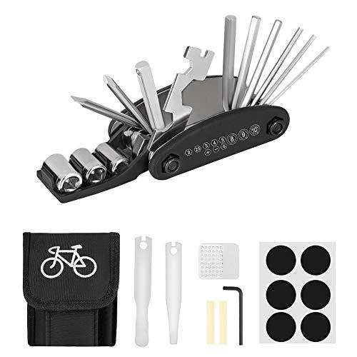 Linkax Fahrrad-Multitool 16 in 1 Werkzeuge für Fahrrad Reparatur Set Multifunktionswerkzeug Fahrradwerkzeug Tool mit Tasche Reifenheber Selbstklebendes Fahrradflicken