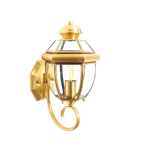 NOBGP Outdoor Wall Laternen Exterior Lights One-Light Wall Mount Waterproof Retro Porch Front Door Garage Balcony wetterproof Wall Sconces Polished Brass Finish - Porch Light Front