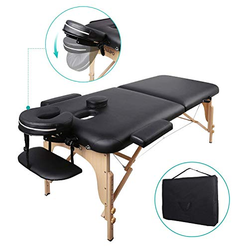Tragbarer Massageliege-Tisch - 3-teilige Faltbare Schönheits-Couch zur Heilung von Reiki-Therapiebehandlungen im Salon - Kopfstützenstütze/Tragetasche aus Metall (Tisch Salon-schönheit Für)