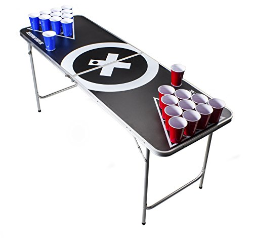 *Beer Pong Tisch Set – Audio Table Design – 6 ft Beer Pong table inkl. 6 Bälle, 50 SOLO Red Cups und Regelwerk*