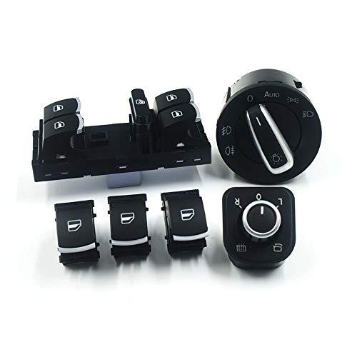 tbparts Chrom-Seitenspiegel-Schalter für Scheinwerfer und Fenster, 6 Stück, für CC Tiguan Passat B6 Golf 5 6 Jetta MK5 ... (A)