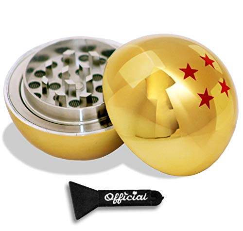 Dragon Ball Z Kräutermühle - 4 Sterne Golden Dragonball Kräuter- & Gewürz-Werkzeug mit Bonus-Schaber - Dragon Ball Z Geschenke, Anime Geschenke - 3-teilige Mühle 5,1 cm